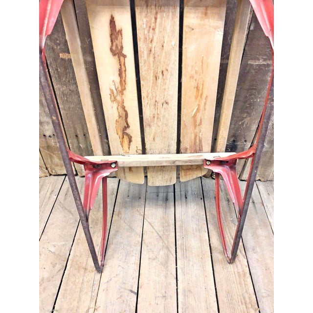 Rustic Vintage Weathered Wood & Metal Runner Sled -- Flexible Flyer For Sale - Image 3 of 12