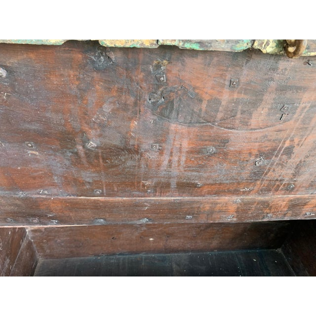 French Provincial Antique Teak & Brass Trunk For Sale - Image 3 of 13