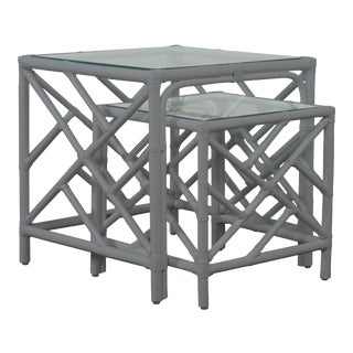 Chippendale Nesting Tables - Light Gray For Sale