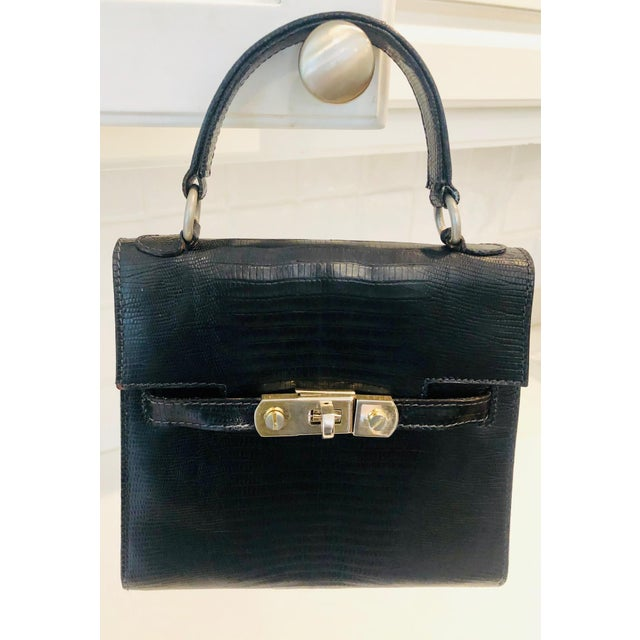 1980s Petite Lizard Skin Kelly Style Purse For Sale - Image 4 of 12
