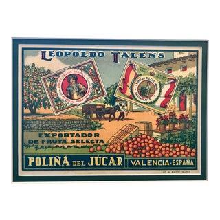 Original Spanish Vintage Art Deco Label, Leopoldo Talens For Sale