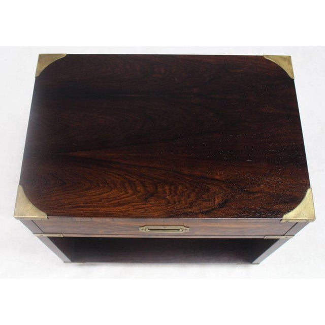 Rosewood Brass Campaign End Table Nighstand Cabinet John Stuart For Sale In New York - Image 6 of 8