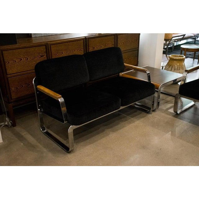1960s Midcentury Chrome and Mohair Loveseat, Chair and Table Set, 1960s For Sale - Image 5 of 11