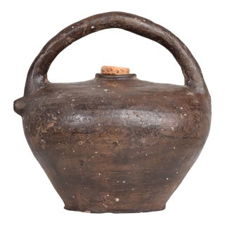 Antique French Walnut Oil Jug Vessel 19th Century France For Sale
