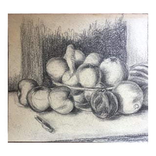 1958 Mid Century Still Life Charcoal Drawing Bowl of Plenty For Sale