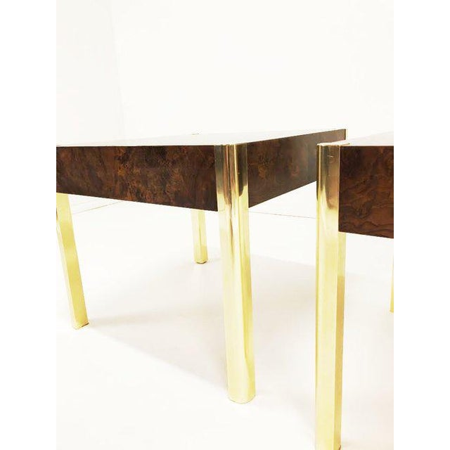 1970's Burl Wood and Brass Tables - a Pair For Sale In Tampa - Image 6 of 10