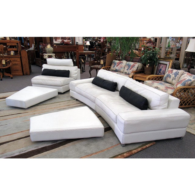 Contemporary 2007 Modern Roche Bobois by Polaris White Leather Modular 5 Pc. Sectional Sofa For Sale - Image 3 of 12