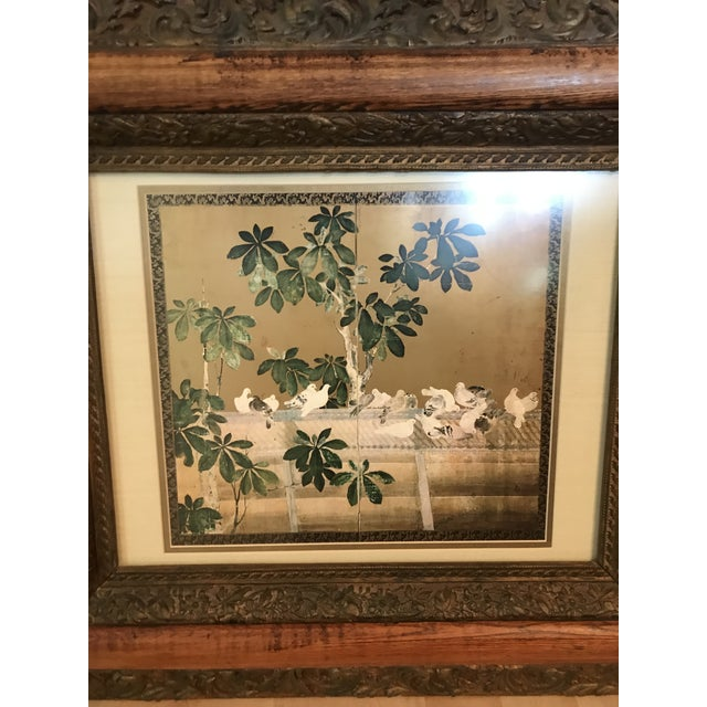 Listed is a chinoiserie panel, print with birds among gardenia branches. This is surrounded by an ornate, wooden frame...