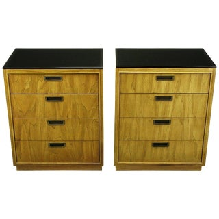 Pair of Ash and Black Glass Four-Drawer Commodes For Sale