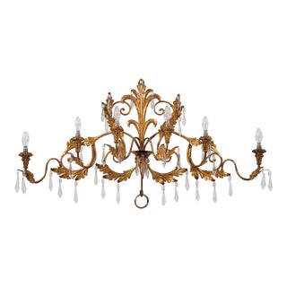 1950s Italian Large 6 Lights Gilt Tone Sconce With Crystals For Sale