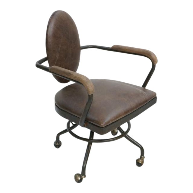 Office Chair With Antique Metal Finish