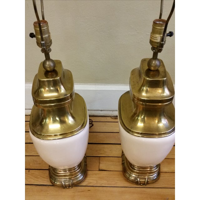 Chapman Ceramic and Brass Hollywood Regency Lamps - Pair - Image 9 of 9