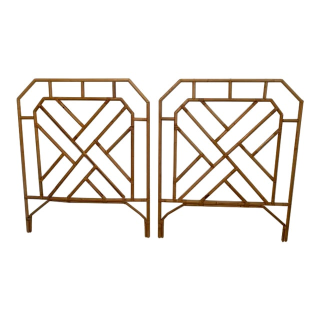 1960s Chippendale Style Rattan Twin Headboards - a Pair For Sale