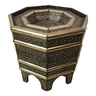 Moroccan Filigree Handcrafted White Brass Center Table For Sale