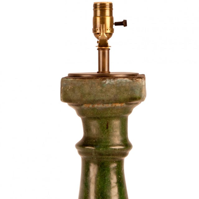 19th Century 1880s Chinese Green Glazed Pottery Balustrade Lamp For Sale - Image 5 of 7