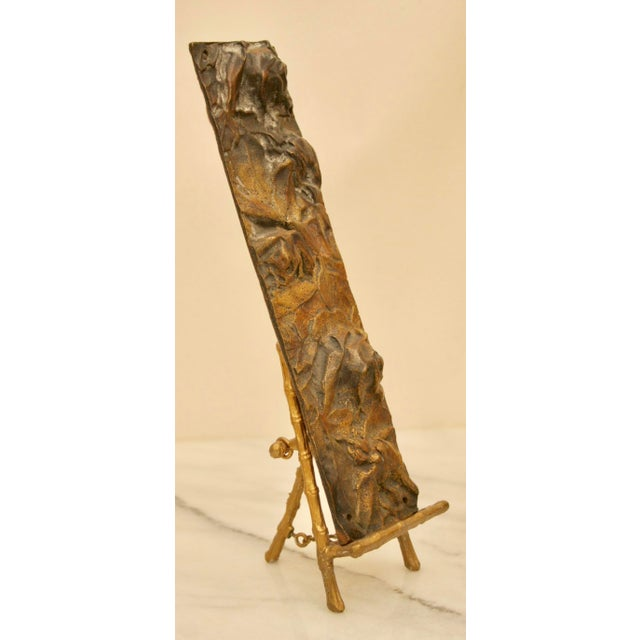Bronze Abstract on Brass Faux Bamboo Easel - Image 8 of 8