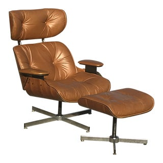 Vintage Mid-Century Selig Plycraft Lounge Chair & Ottoman For Sale