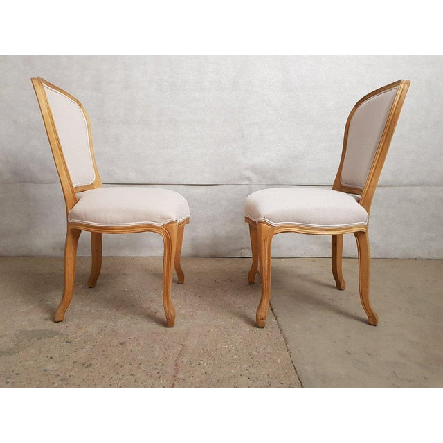 Set of 8 Louis XV French Natural Oak Dining Chairs Upholstered in Belgian Linen For Sale - Image 9 of 13