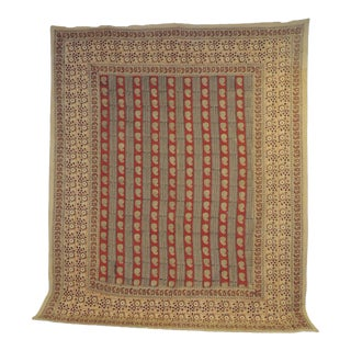"""Vintage Hand-Blocked Red and Brown """"Kalamkari"""" Cotton Paisley Coverlet/Cloth For Sale"""