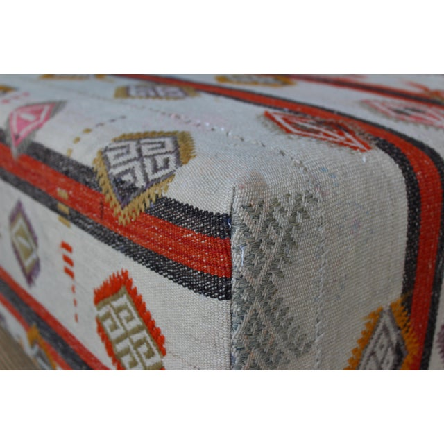Ottoman Upholstered in a Vintage Rug For Sale - Image 9 of 10