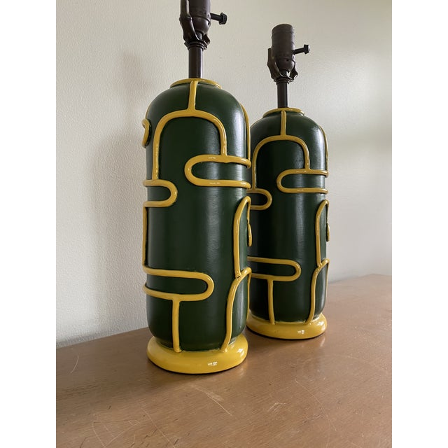 Mid-Century Modern Late 1940s Pottery Ceramic Lamps by Ugo Zaccagnini - a Pair For Sale - Image 3 of 11