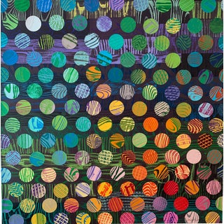 21st Century Hand-Printed Paper Collage on Canvas by Beth Weintraub. For Sale