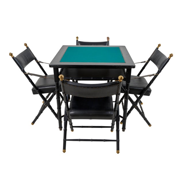 Schumacher 1950s French Game Table and Campaign Chairs - 5 Pieces For Sale - Image 4 of 13