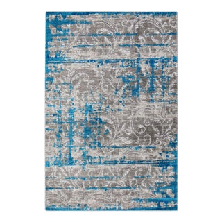 Hipster Scroll Vine Bright Blue 5'3''x 7'7''