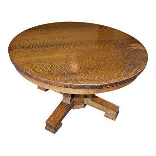 Antique Mission Oak Arts and Craft Style Round Table With Leaf For Sale