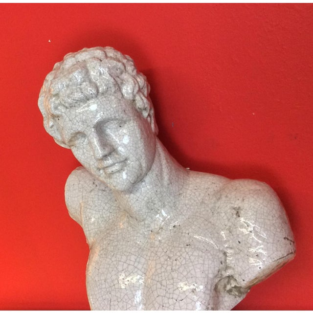 1960s Vintage Venetian Roman Emperor Glazed Terra Cotta Bust For Sale In Los Angeles - Image 6 of 8