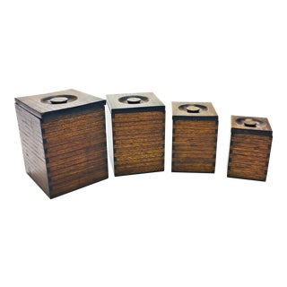 Vintage Finger Jointed Wood Nesting Canister Boxes - Set of 4