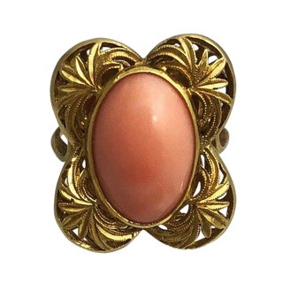 Vintage 18k Gold Angel Skin Coral Ring For Sale