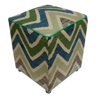 Arshs Deena Ivory/Green Kilim Upholstered Handmade Ottoman For Sale