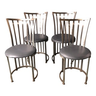 Vintage Brushed Steel Circular Dining Chairs - Set of 4
