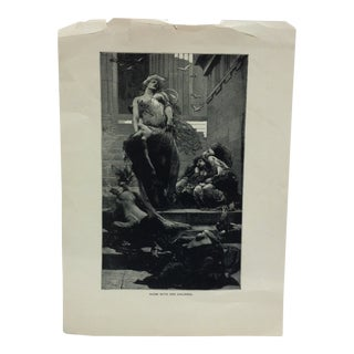 "Vintage Black & White Print on Paper, ""Niobe With Her Children"" For Sale"