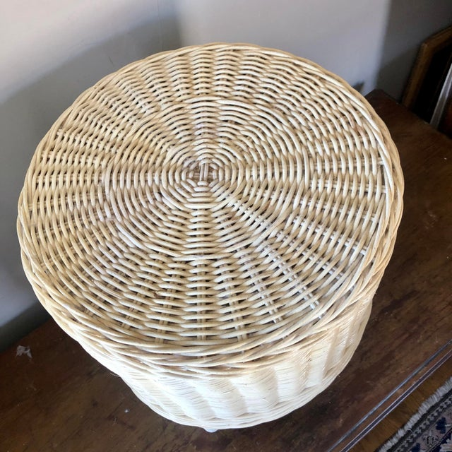 Hollywood Regency Vintage White Wicker Pouf Stools - a Pair For Sale - Image 3 of 6