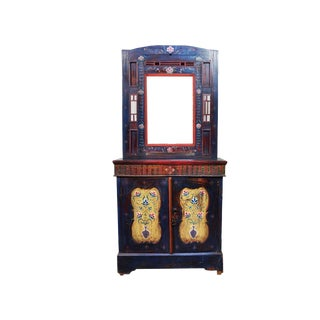 Vintage Indigo Hand Painted Entry Hall Cabinet With Mirror For Sale