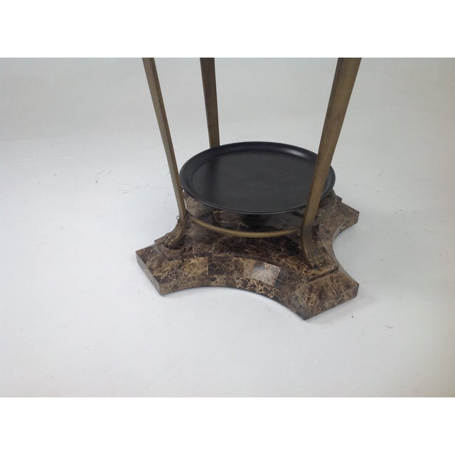 Claw Foot Travertine & Iron Foyer Table For Sale - Image 4 of 7