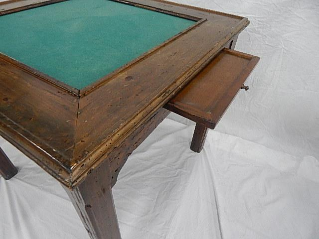 Country Style Game Table, Worm Hole Wood With Green Felt Top   Image 6 Of