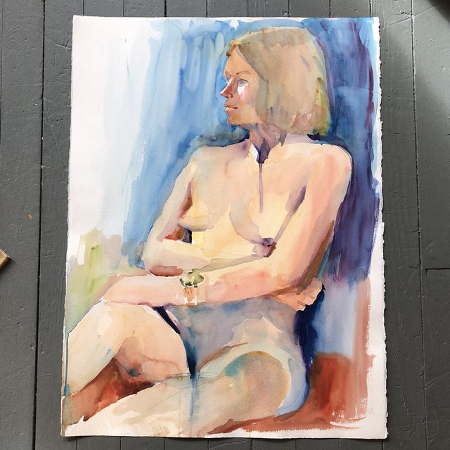 1970s Large Vintage Original Female Nude Watercolor Painting Study For Sale - Image 5 of 5