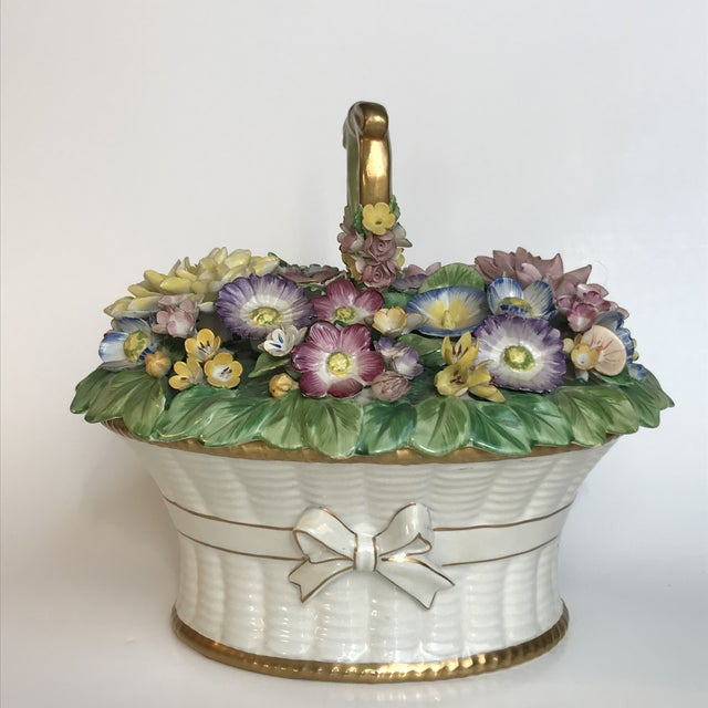 Mottahedeh Cottage Ceramic Floral Basket Lidded Centerpiece Dish For Sale - Image 13 of 13