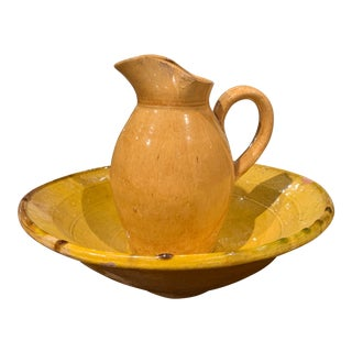 Early 20th Century French Glazed Terracotta Wash Bowl and Matching Pitcher For Sale