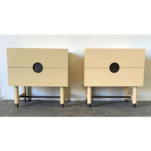 Lawson Fenning Niguel Brass and Lacquered Nightstands - a Pair For Sale - Image 10 of 12