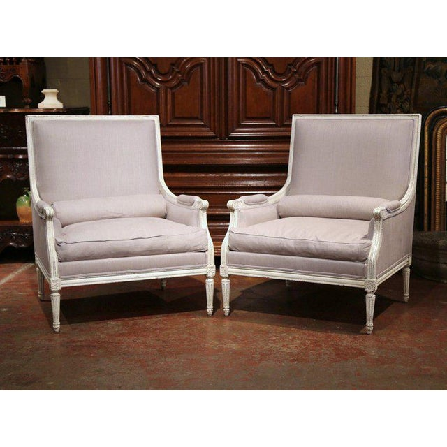 Pair of 19th Century French Louis XVI Carved Painted Armchairs With Pillows For Sale - Image 9 of 9