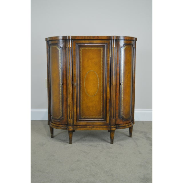 Brown John Richards Regency Style Mahogany Leather Wrapped Console Cabinet For Sale - Image 8 of 12