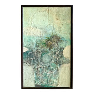 Mid-Century Mixed Media Abstract Signed Davoli For Sale