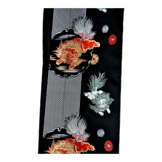 Silk Fabric With Japanese Foo Dogs ShiShi Lions For Sale