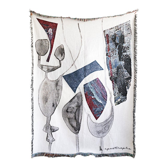Abstract White & Gray Woven Cotton Throw Blanket For Sale