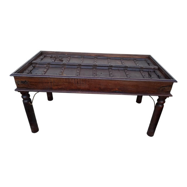 17th Century Medival Metal and Wood Dining Table Made From 17th Century Door For Sale