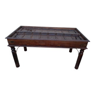 17th Century Medival Metal and Wood Dining Table Made From Repurposed Door